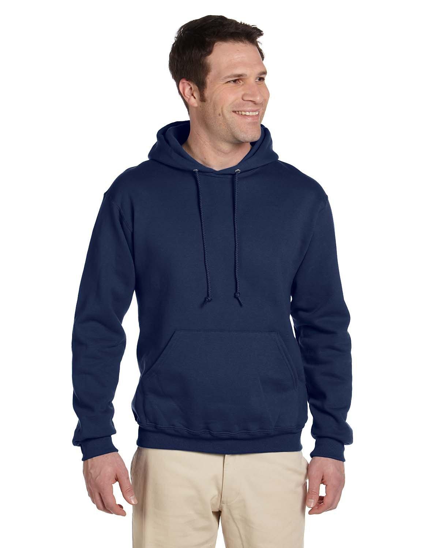Jerzees Adult Super Sweats® NuBlend® Fleece Pullover Hooded Sweatshirt J NAVY