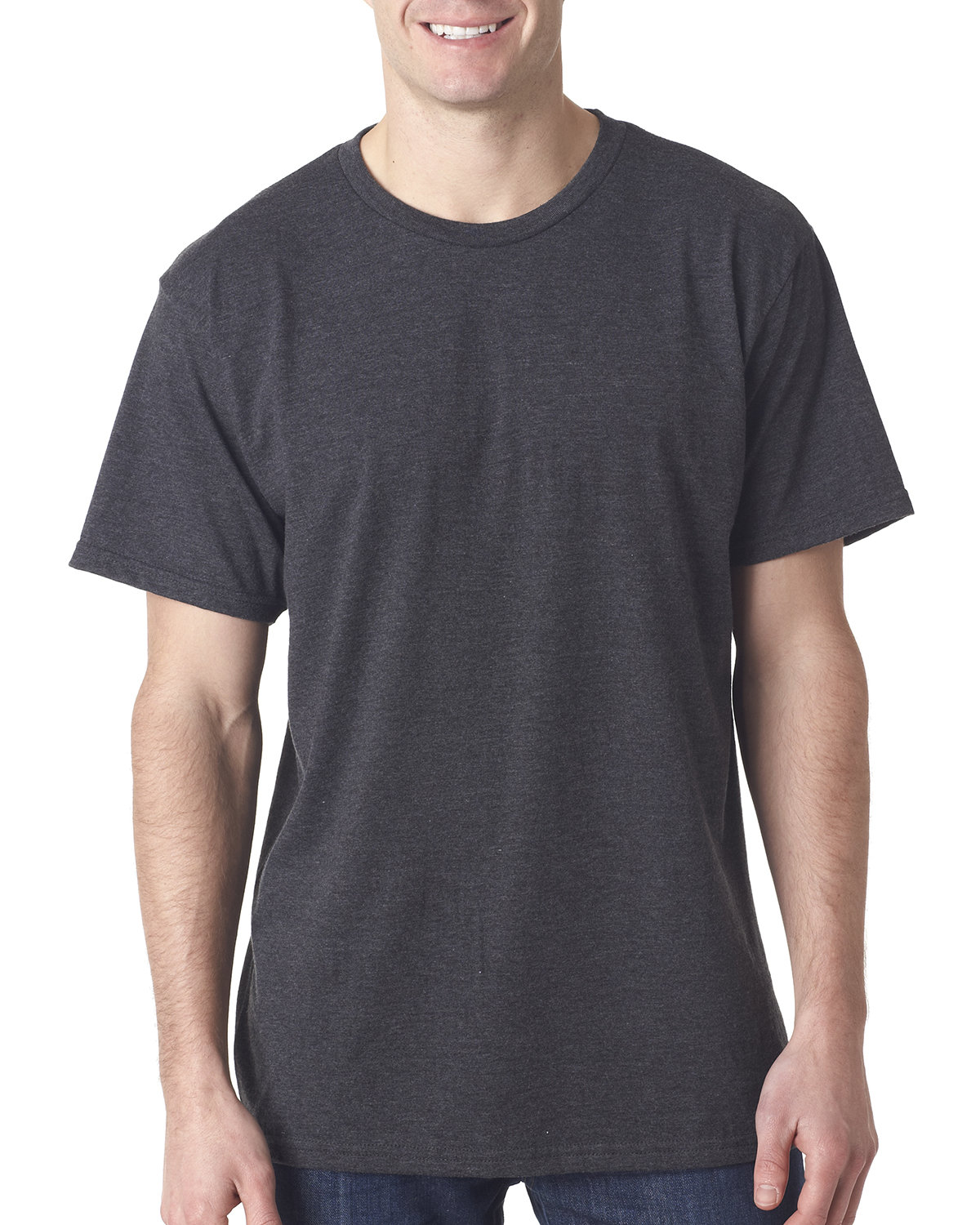 Bayside Adult Adult Heather Ring-Spun Jersey Tee HEATHER CHARCOAL