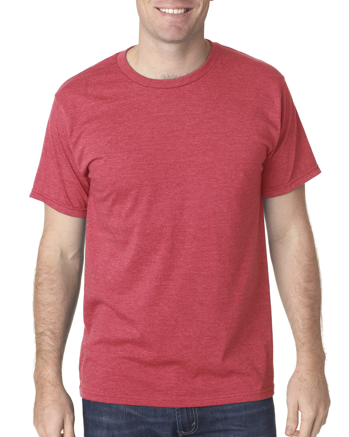 Bayside Adult Adult Heather Ring-Spun Jersey Tee HEATHER RED