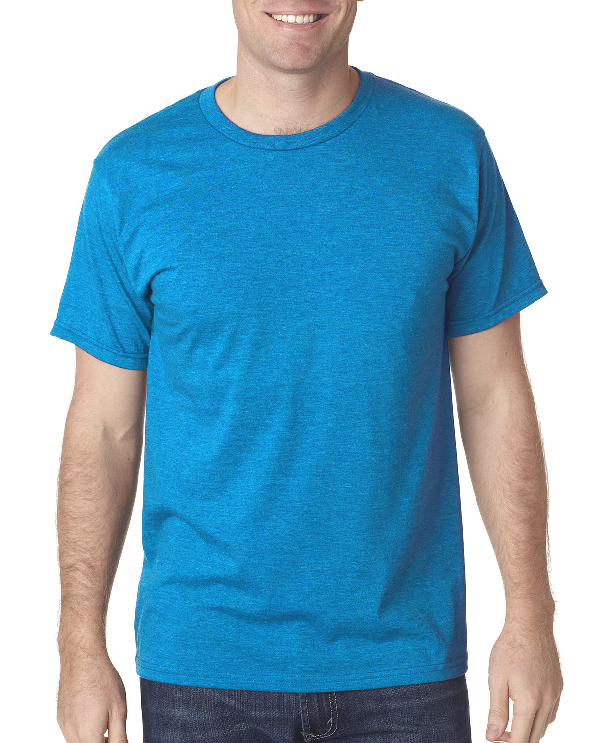 Bayside Adult Adult Heather Ring-Spun Jersey Tee HTHR TURQUOISE