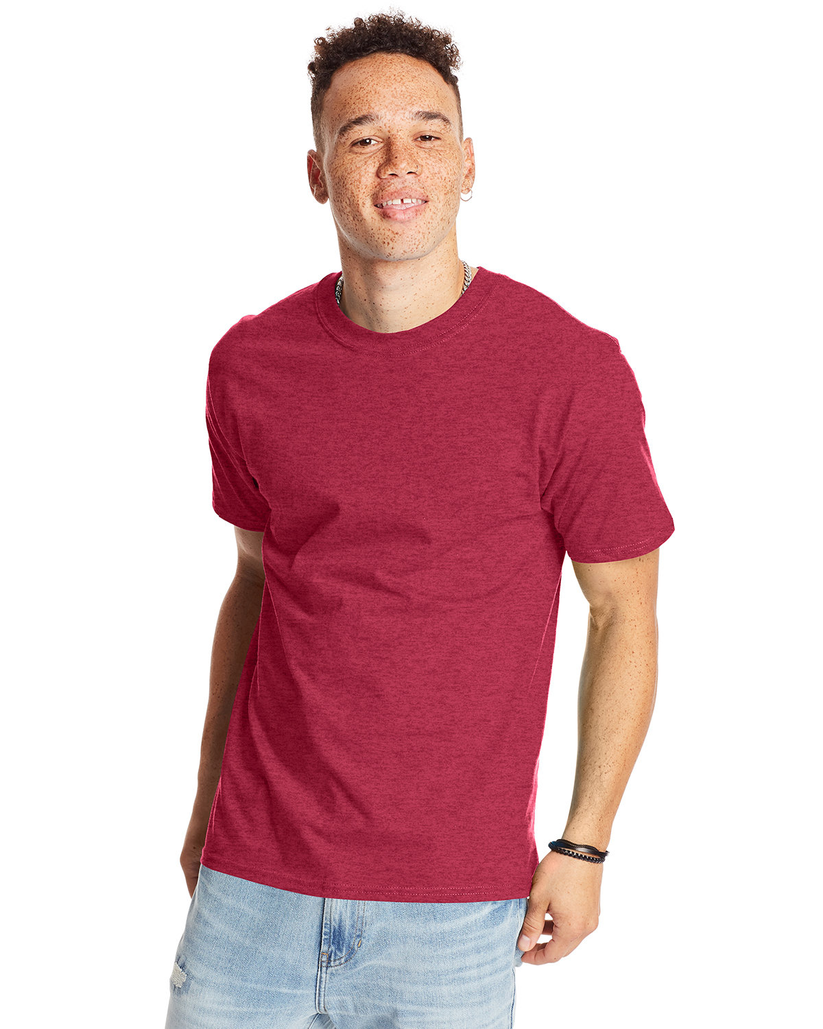 Hanes Unisex Beefy-T® T-Shirt HEATHER RED