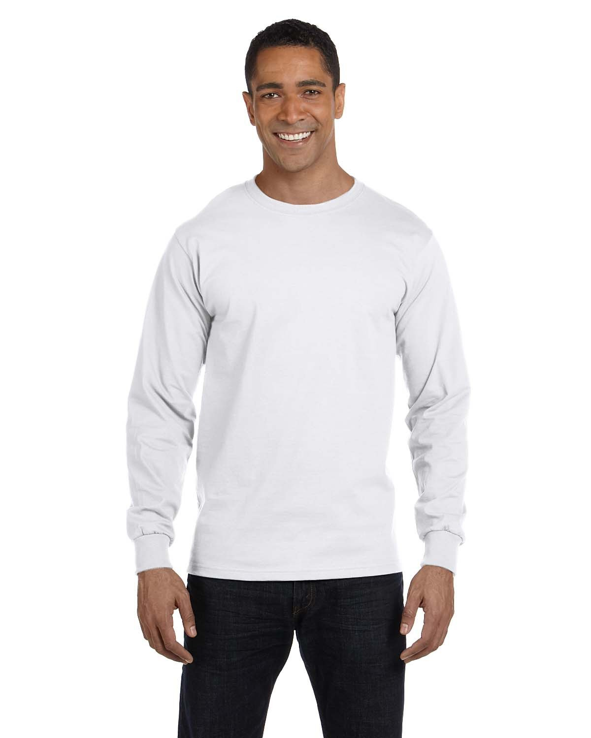 Hanes Adult Long-Sleeve Beefy-T® WHITE
