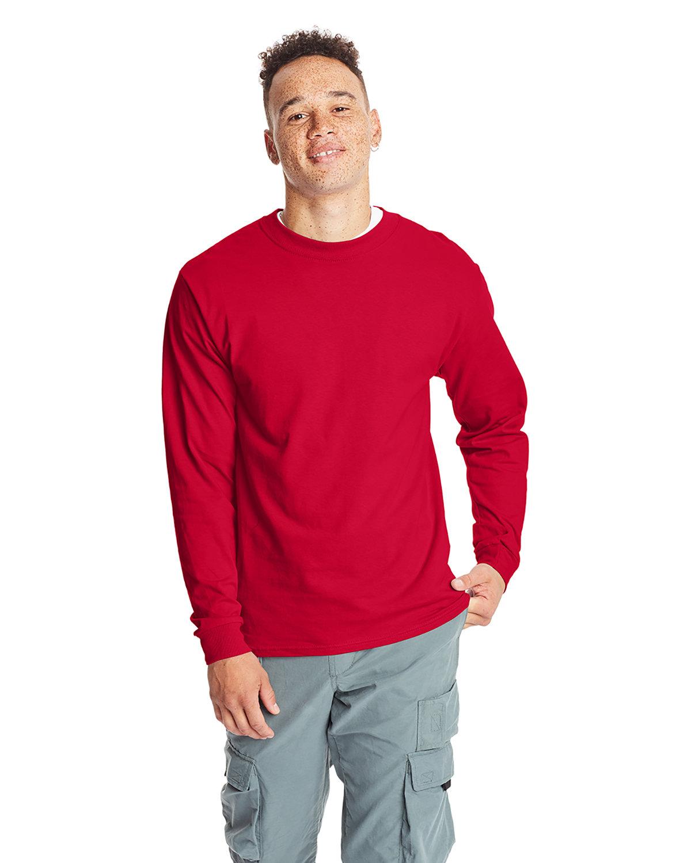 Hanes Adult Long-Sleeve Beefy-T® DEEP RED