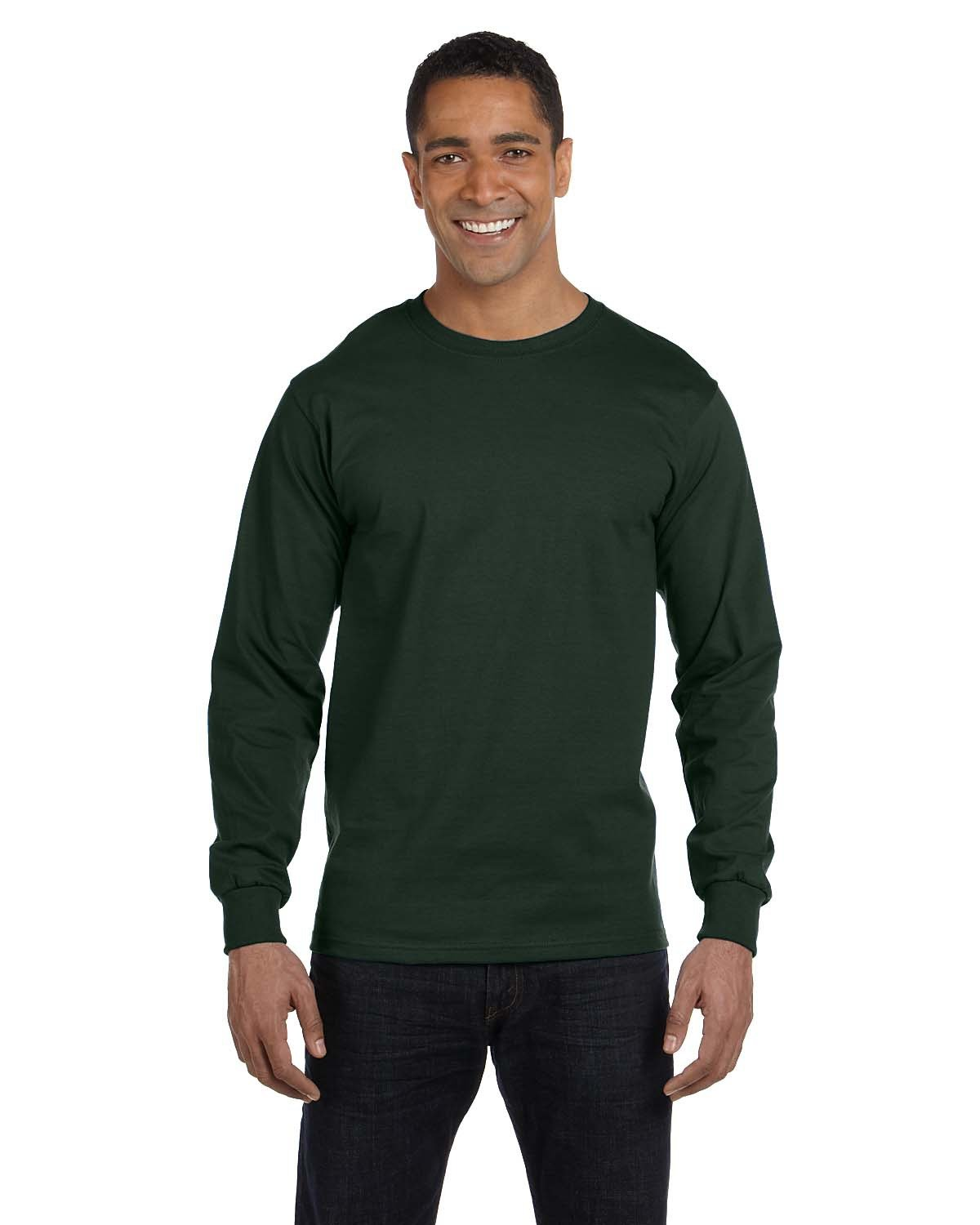 Hanes Adult Long-Sleeve Beefy-T® DEEP FOREST