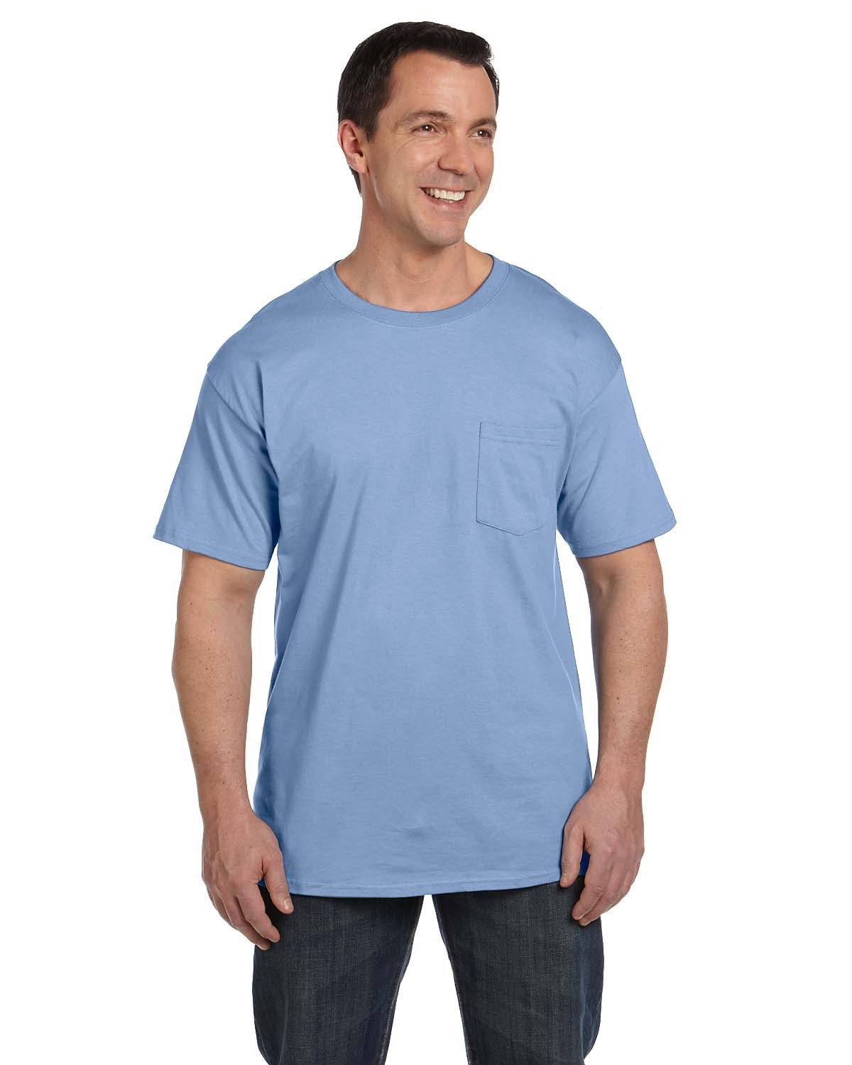 Hanes Adult Beefy-T® with Pocket LIGHT BLUE