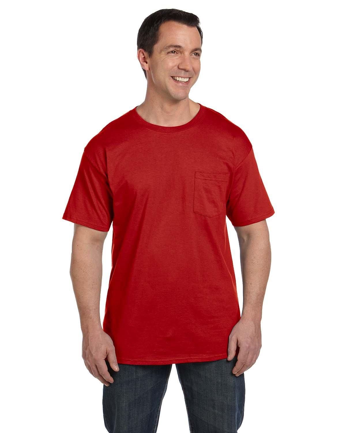 Hanes Adult Beefy-T® with Pocket DEEP RED