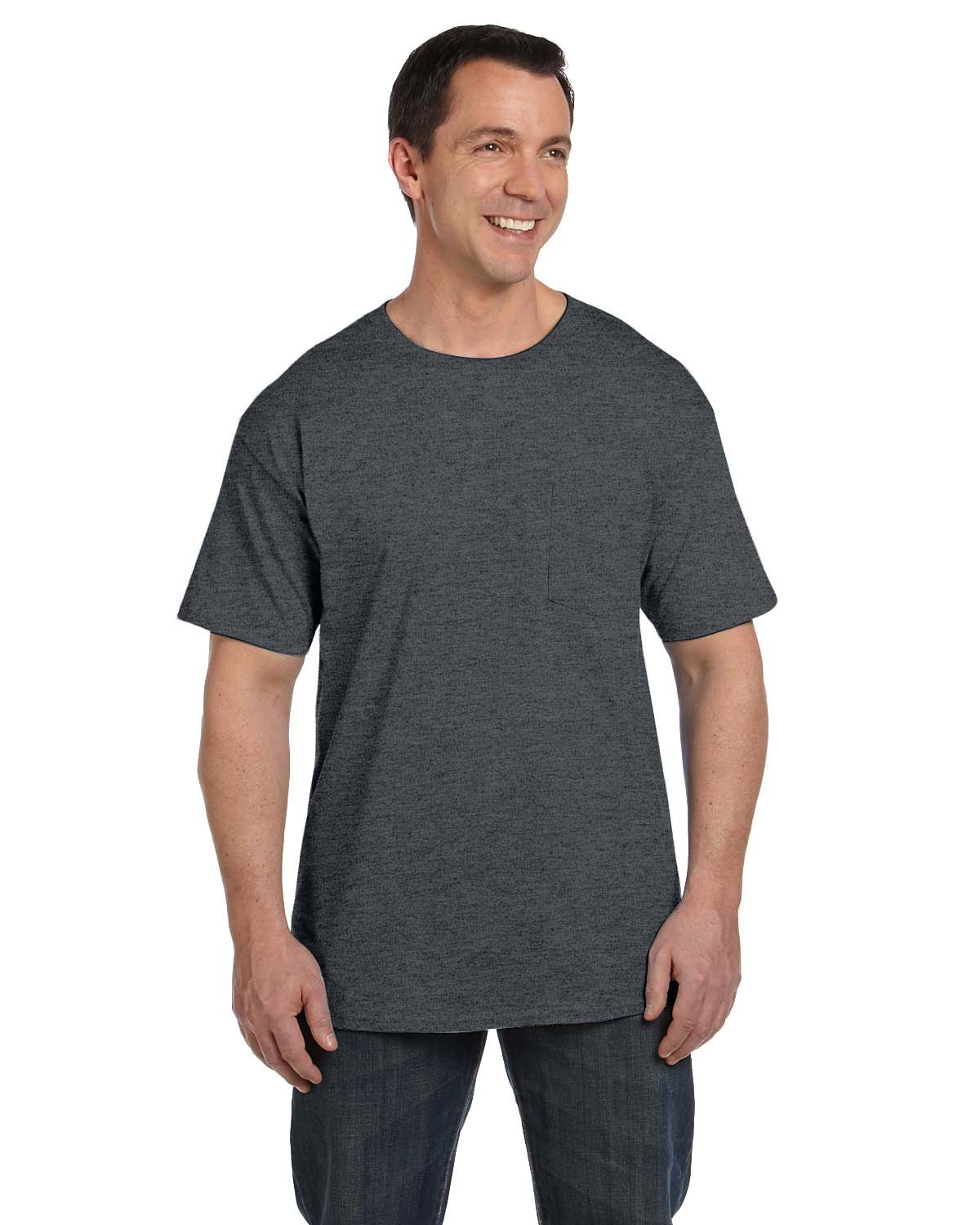 Hanes Adult Beefy-T® with Pocket CHARCOAL HEATHER