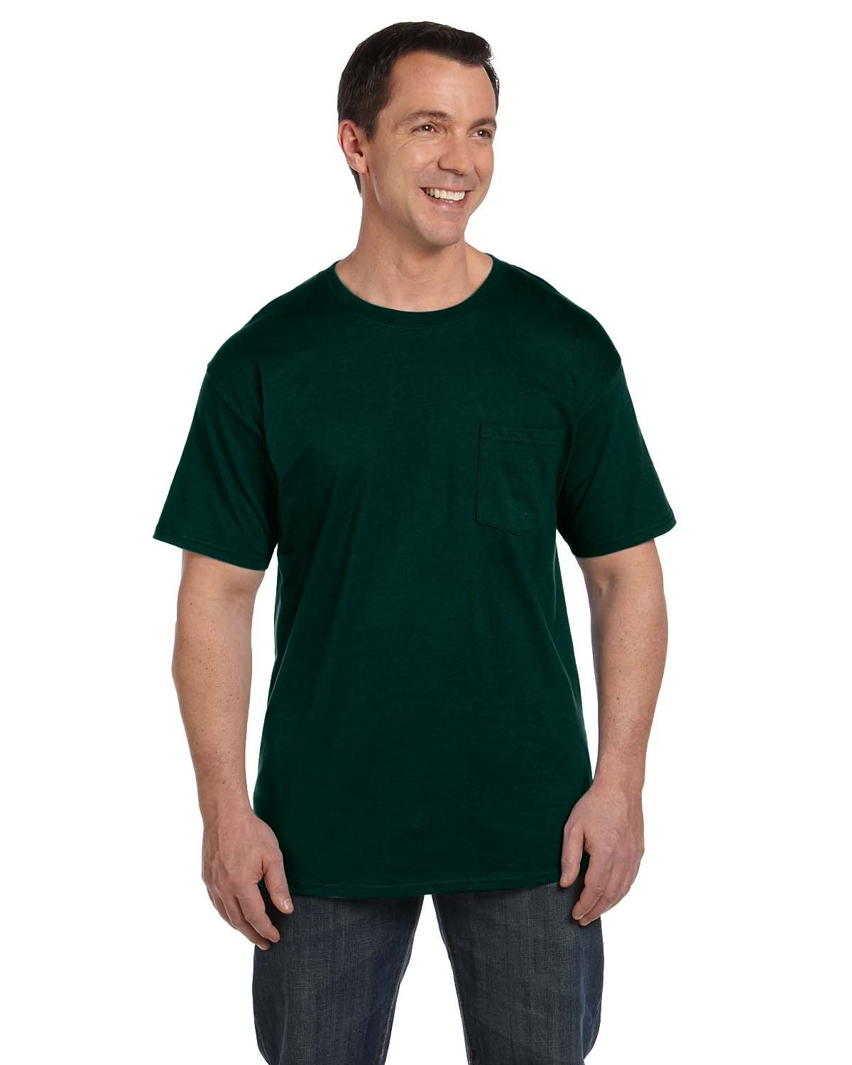 Hanes Adult Beefy-T® with Pocket DEEP FOREST