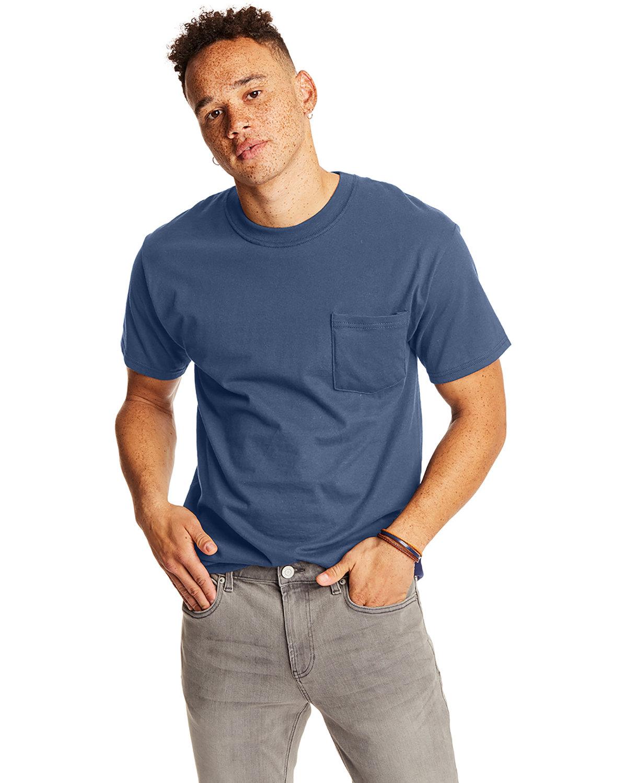 Hanes Adult Beefy-T® with Pocket DENIM BLUE