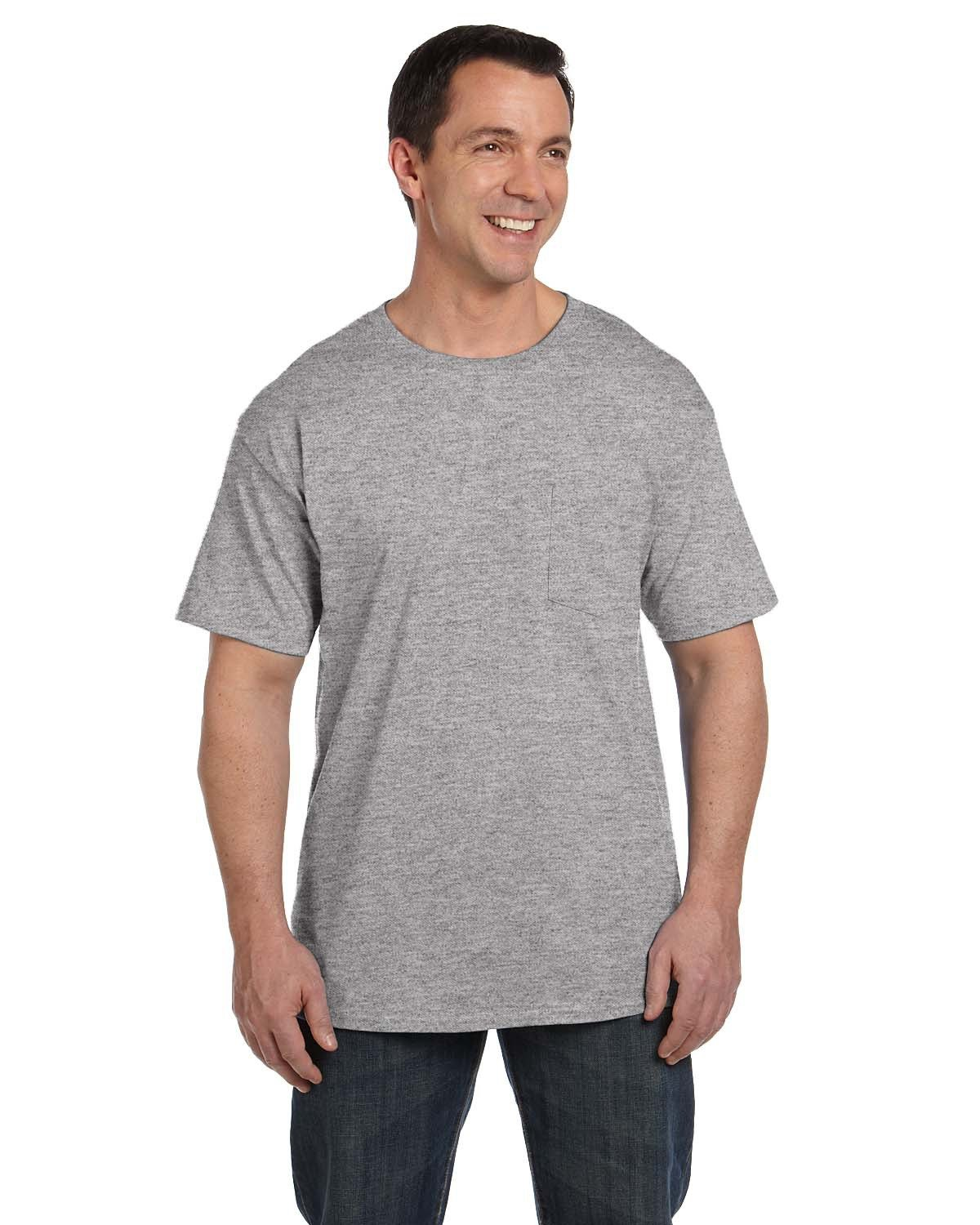 Hanes Adult Beefy-T® with Pocket LIGHT STEEL