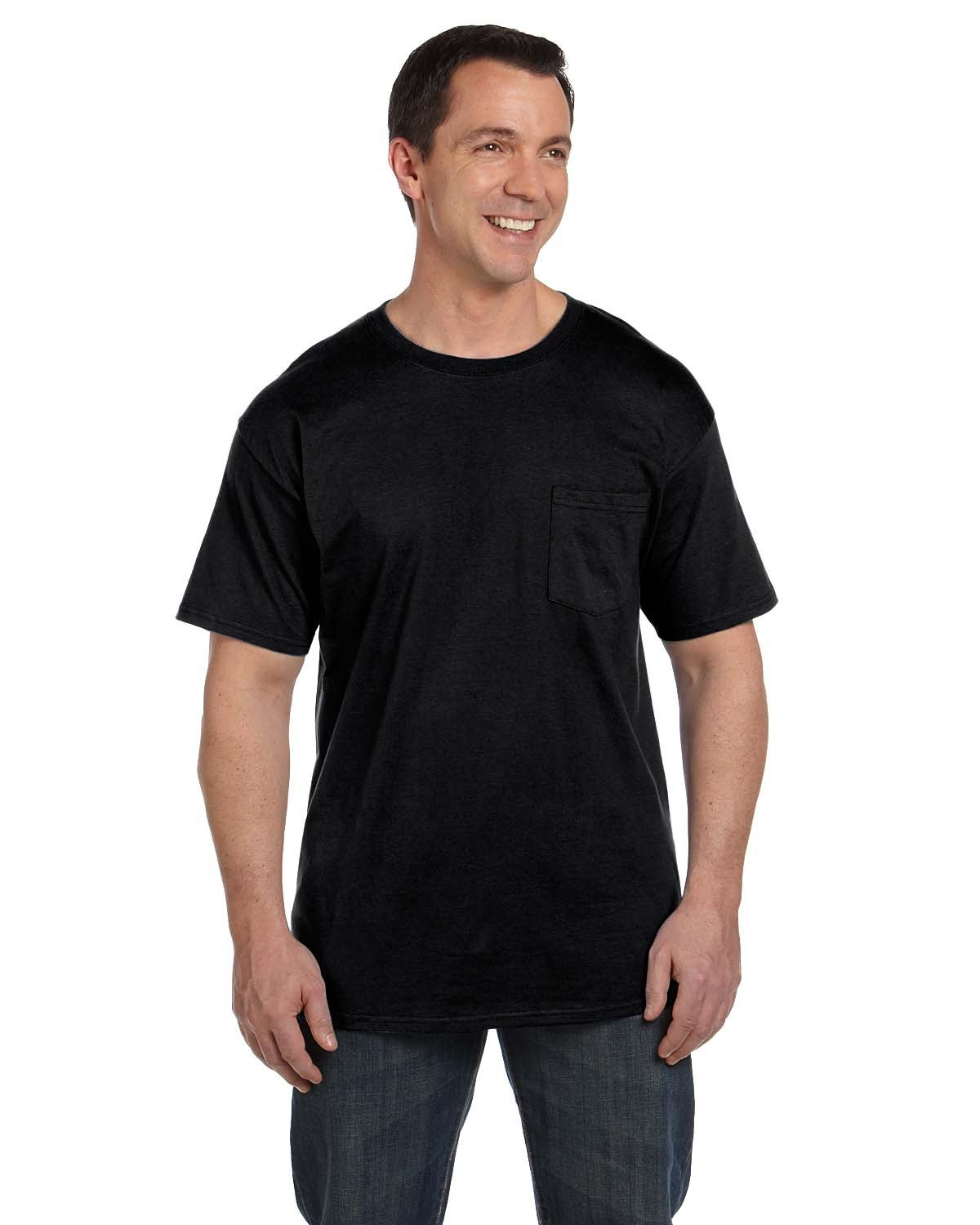 Hanes Adult Beefy-T® with Pocket BLACK