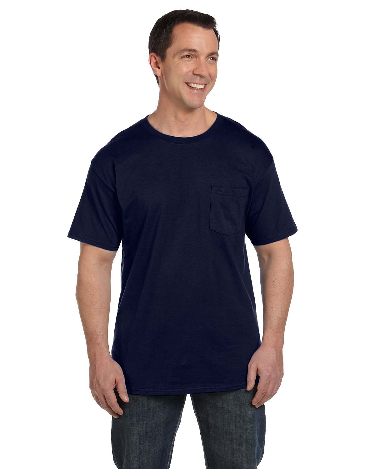 Hanes Adult Beefy-T® with Pocket NAVY