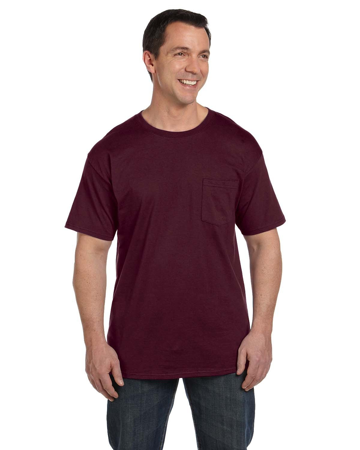 Hanes Adult Beefy-T® with Pocket MAROON