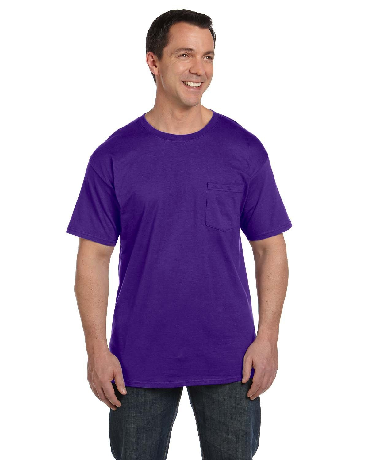 Hanes Adult Beefy-T® with Pocket PURPLE