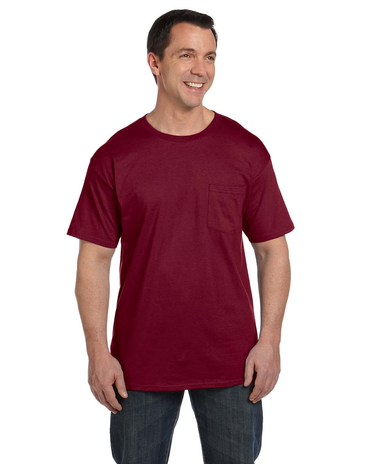 Hanes Adult Beefy-T® with Pocket CARDINAL