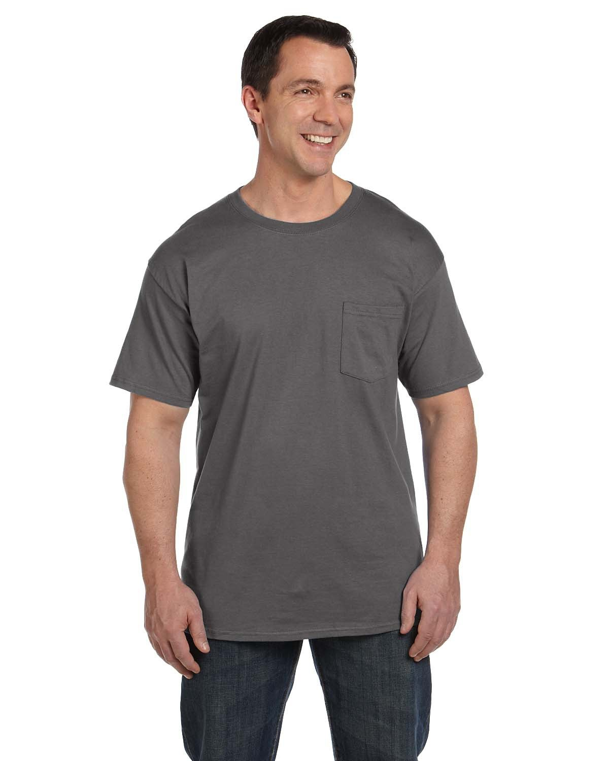Hanes Adult Beefy-T® with Pocket SMOKE GRAY