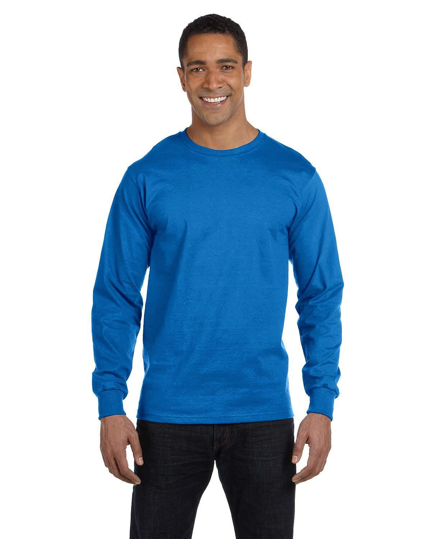 Hanes Men's ComfortSoft® Cotton Long-Sleeve T-Shirt BLUEBELL BREEZE