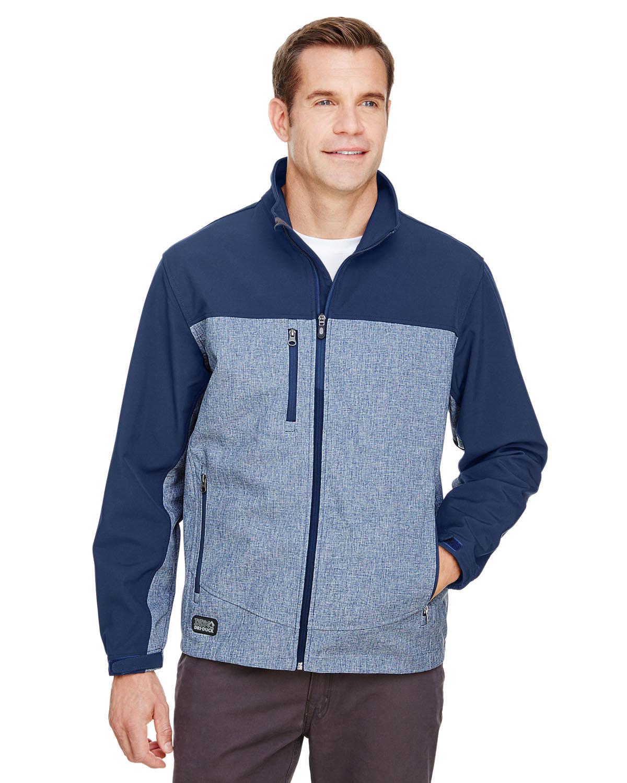 Dri Duck Men's Poly Spandex Motion Softshell Jacket DEEP BLUE HEATHR
