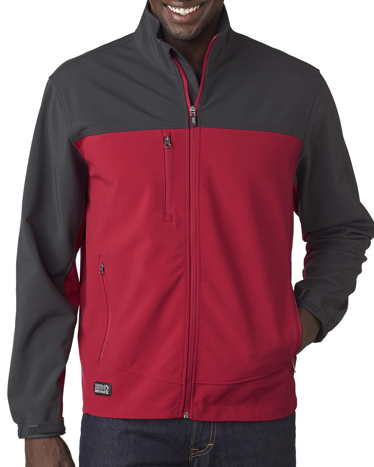 Dri Duck Men's Poly Spandex Motion Softshell Jacket RED/ CHARCOAL