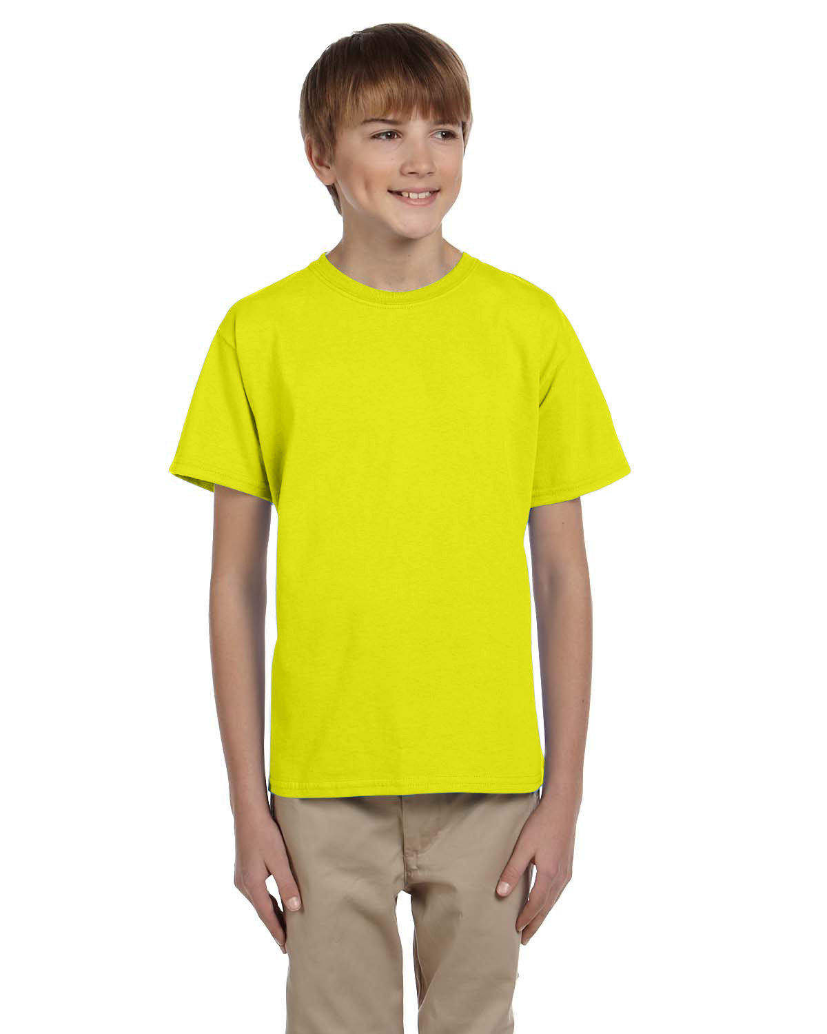 Hanes Youth 50/50 T-Shirt SAFETY GREEN