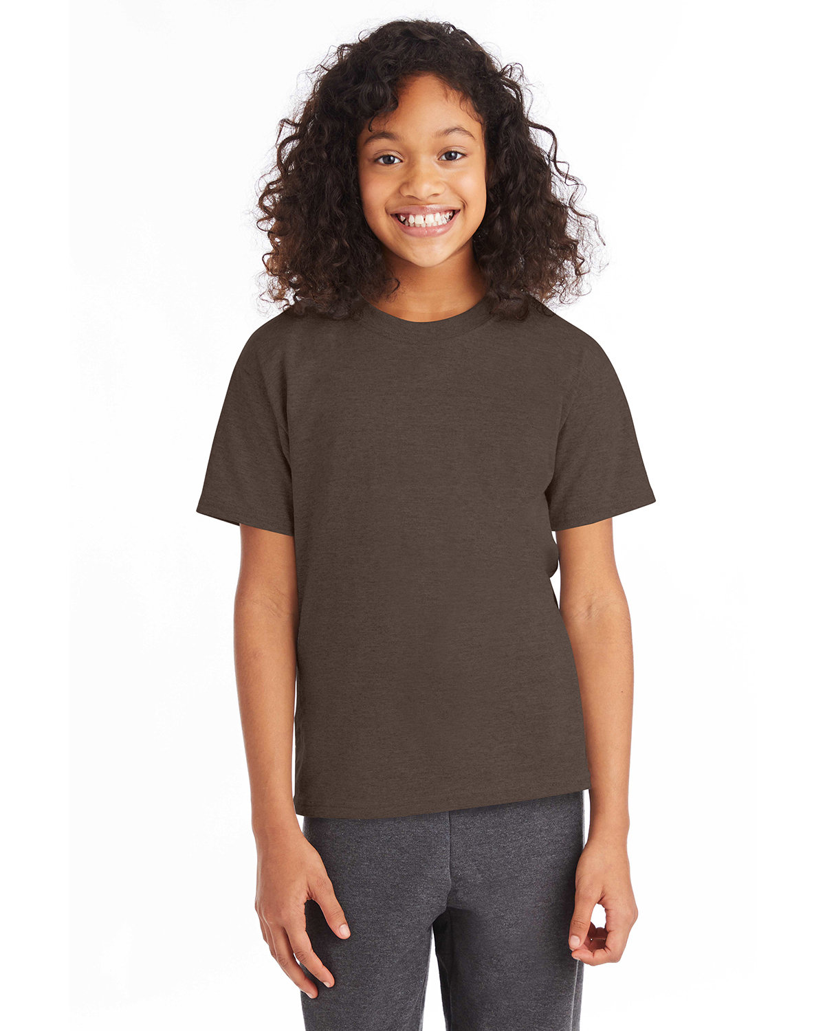 Hanes Youth 50/50 T-Shirt HEATHER BROWN