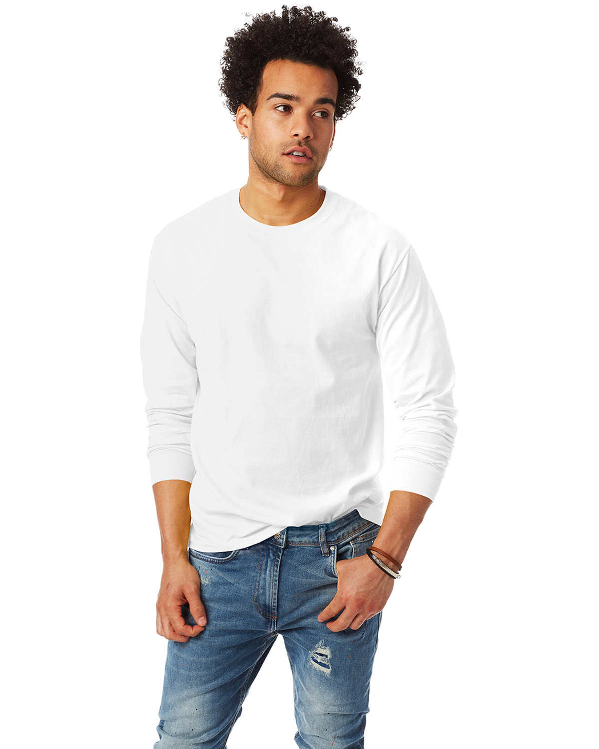 Hanes Adult Authentic-T Long-Sleeve T-Shirt WHITE