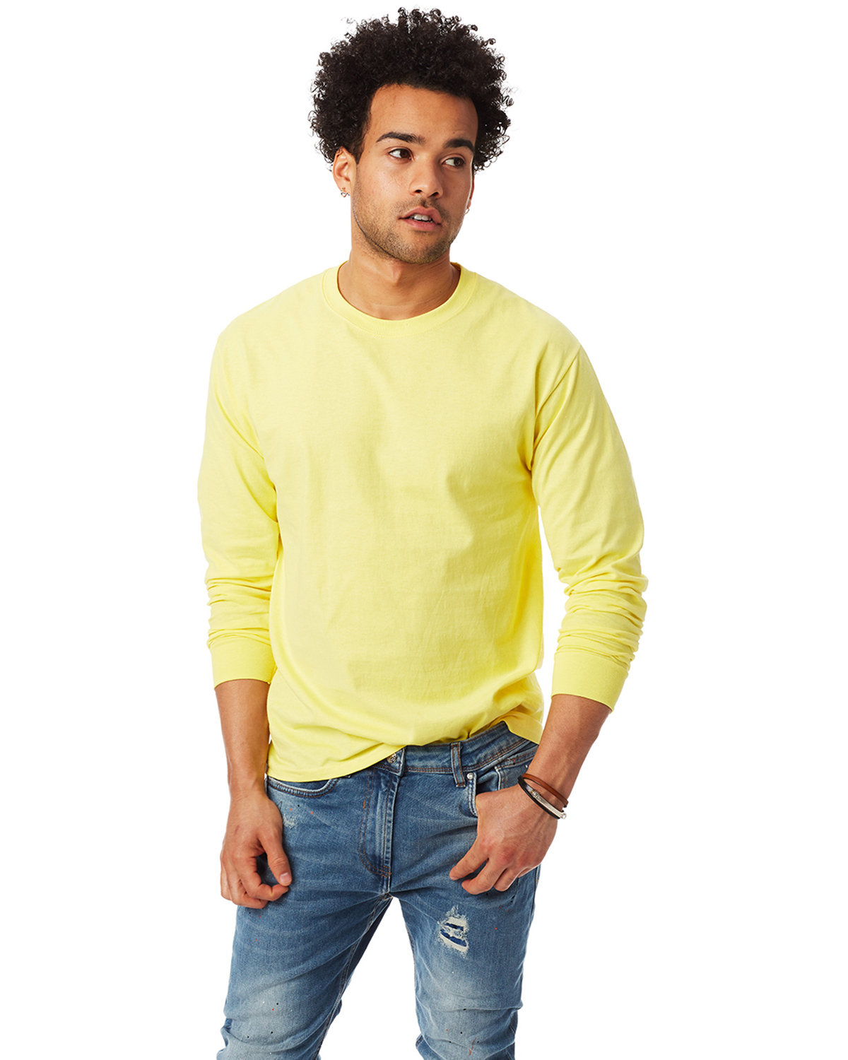 Hanes Adult Authentic-T Long-Sleeve T-Shirt YELLOW