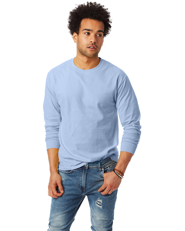 Hanes Adult Authentic-T Long-Sleeve T-Shirt LIGHT BLUE