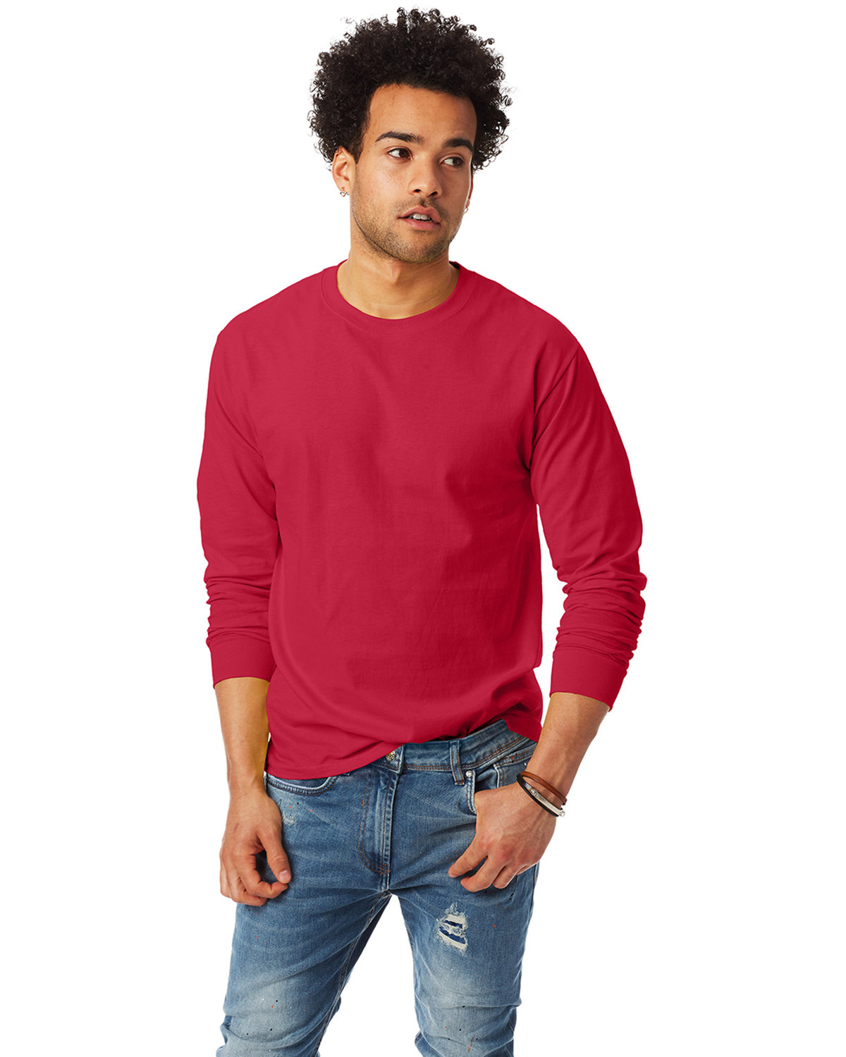 Hanes Adult Authentic-T Long-Sleeve T-Shirt DEEP RED