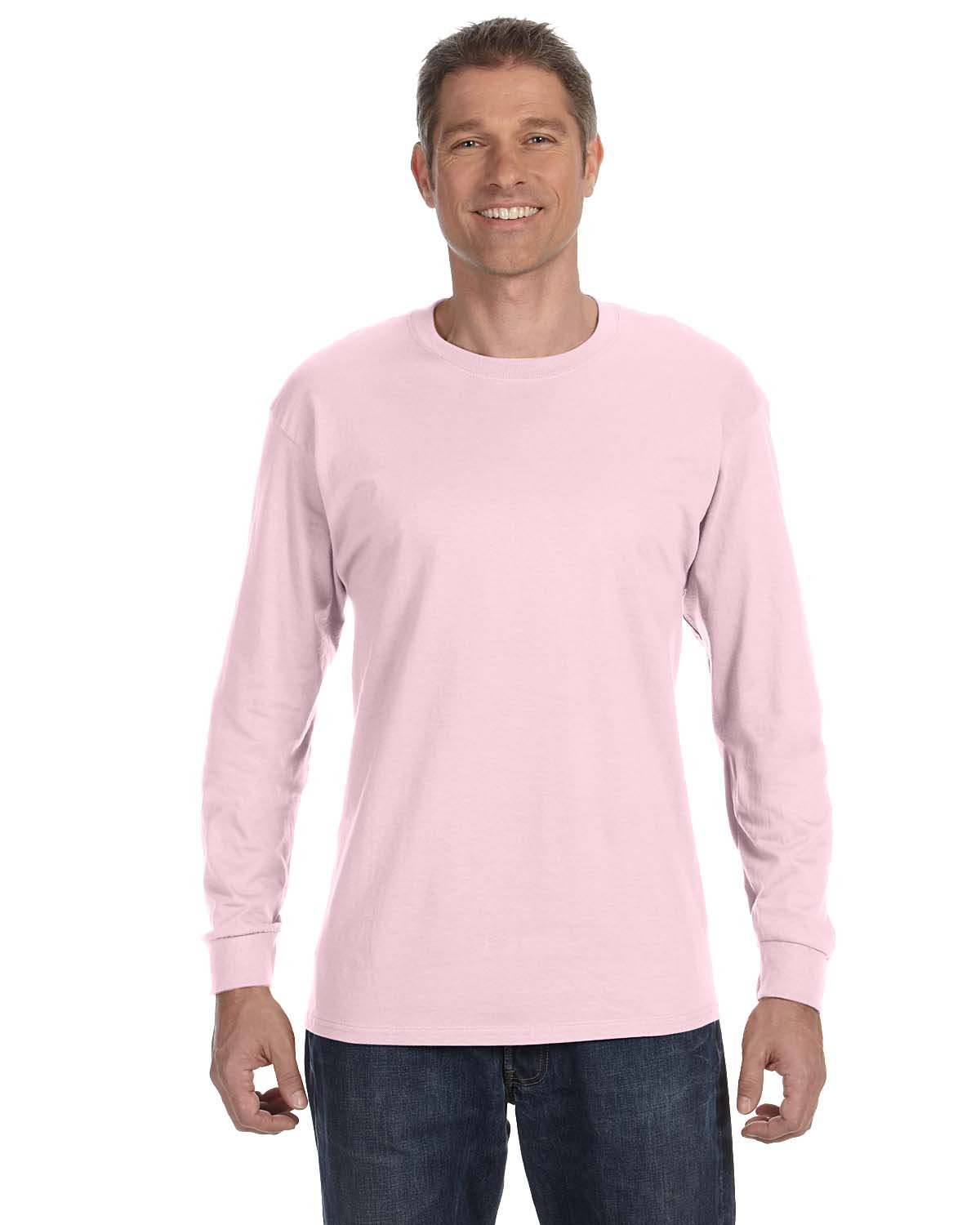 Hanes Adult Authentic-T Long-Sleeve T-Shirt PALE PINK