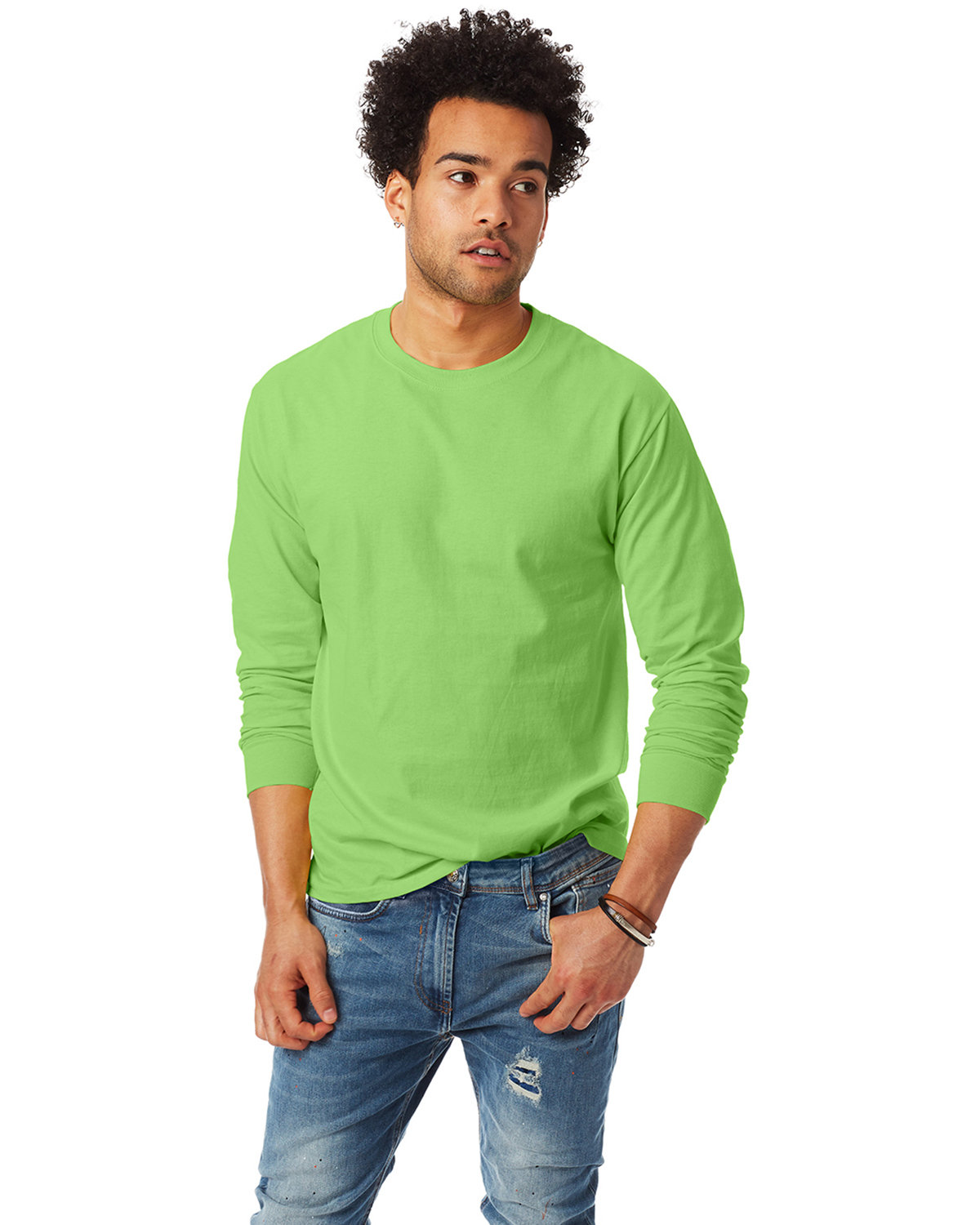 Hanes Adult Authentic-T Long-Sleeve T-Shirt LIME