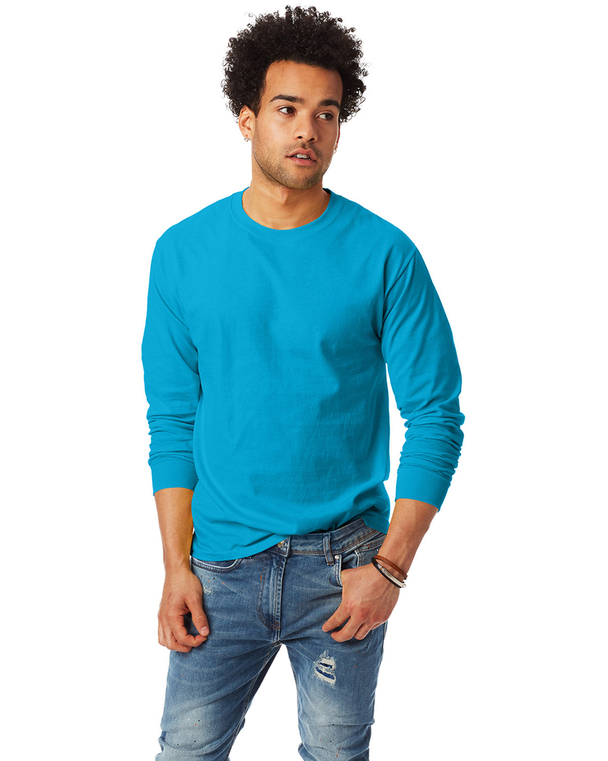 Hanes Adult Authentic-T Long-Sleeve T-Shirt TEAL