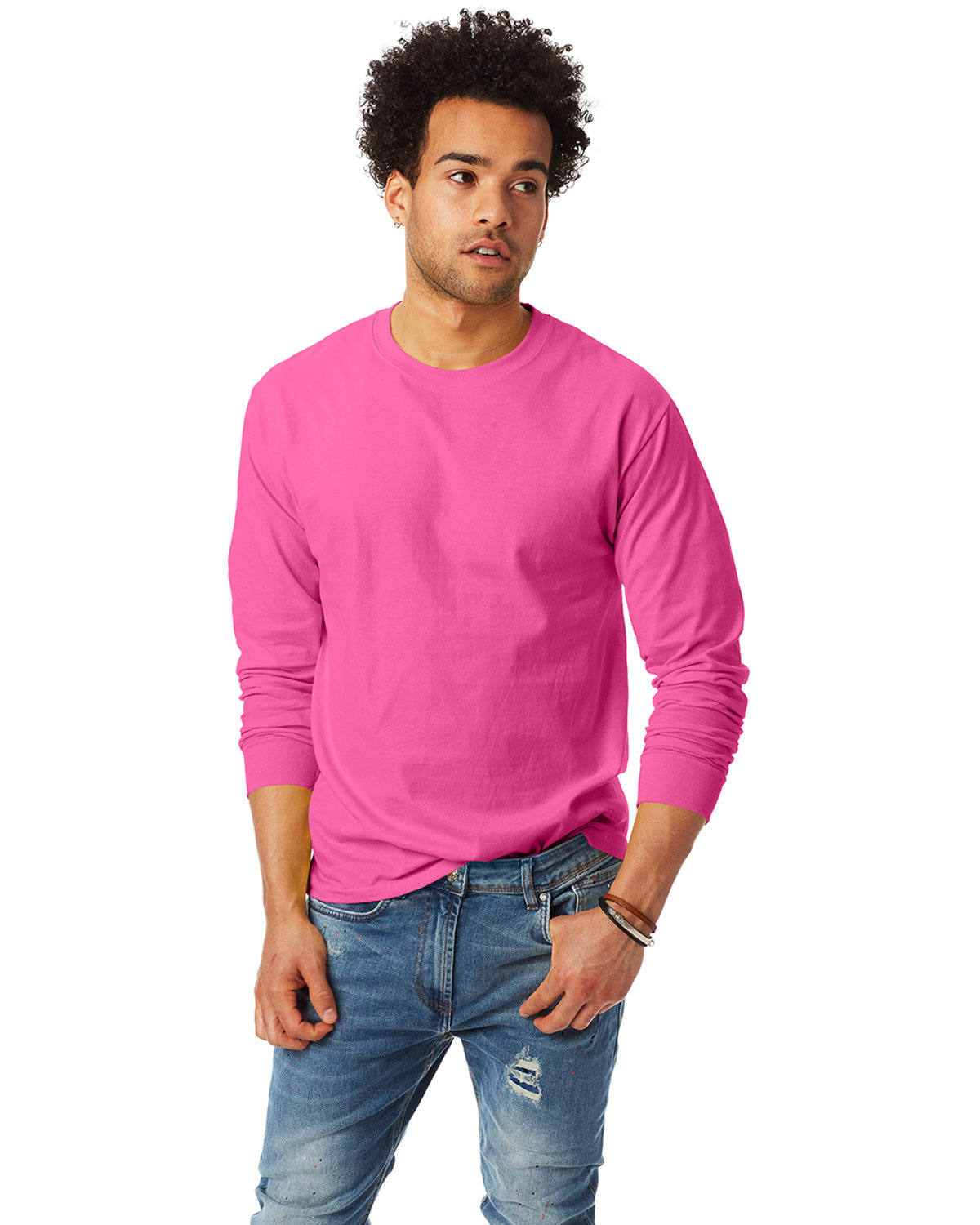 Hanes Adult Authentic-T Long-Sleeve T-Shirt WOW PINK