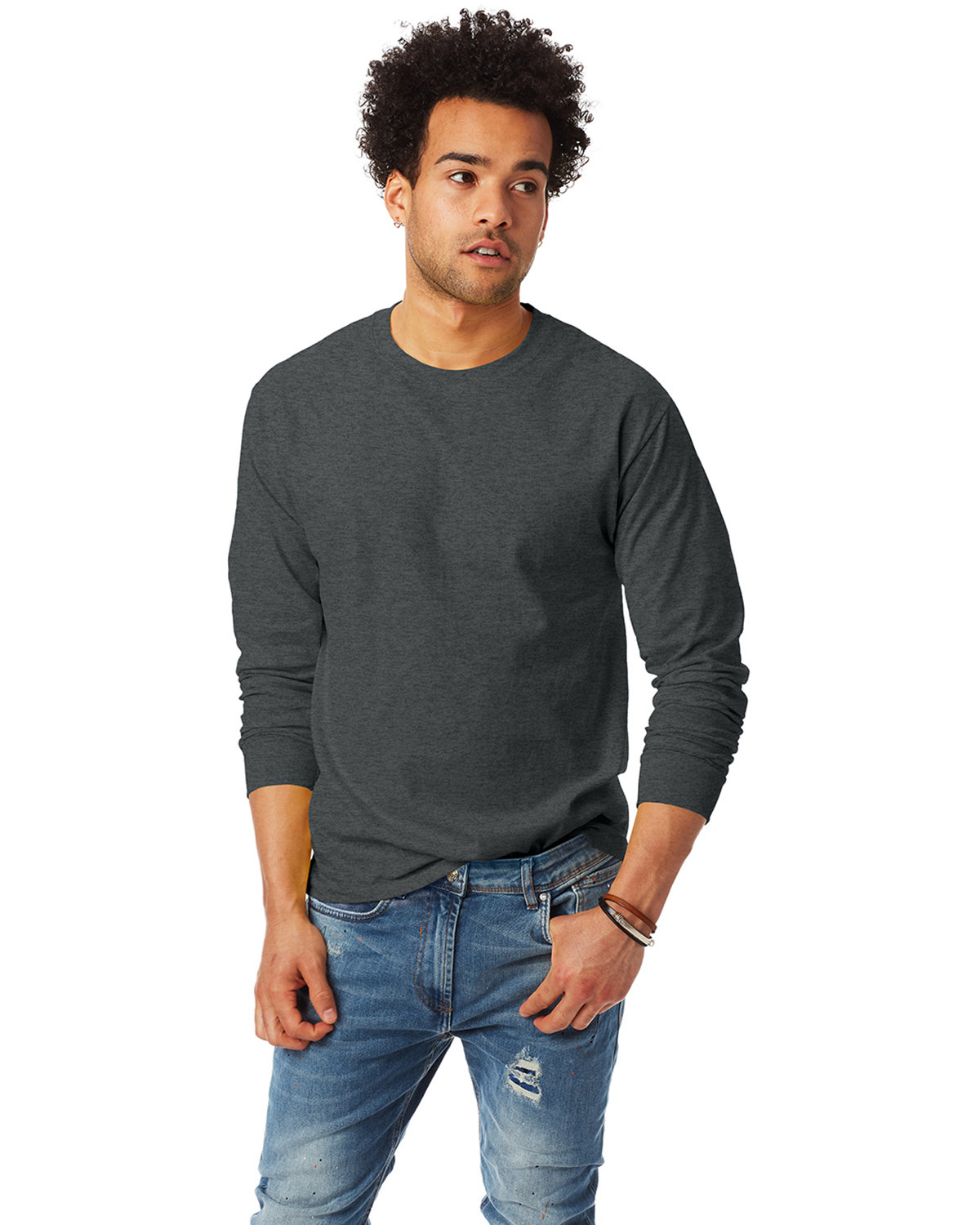 Hanes Adult Authentic-T Long-Sleeve T-Shirt CHARCOAL HEATHER