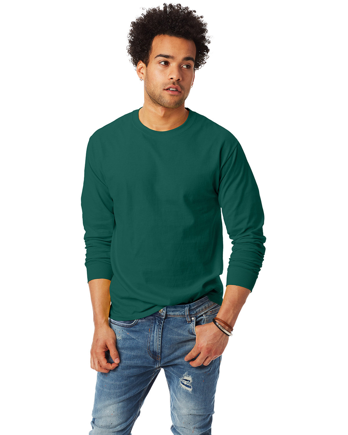 Hanes Adult Authentic-T Long-Sleeve T-Shirt DEEP FOREST