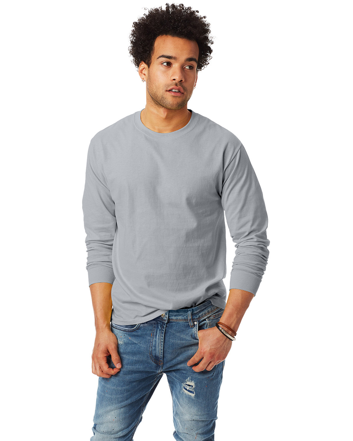 Hanes Adult Authentic-T Long-Sleeve T-Shirt LIGHT STEEL