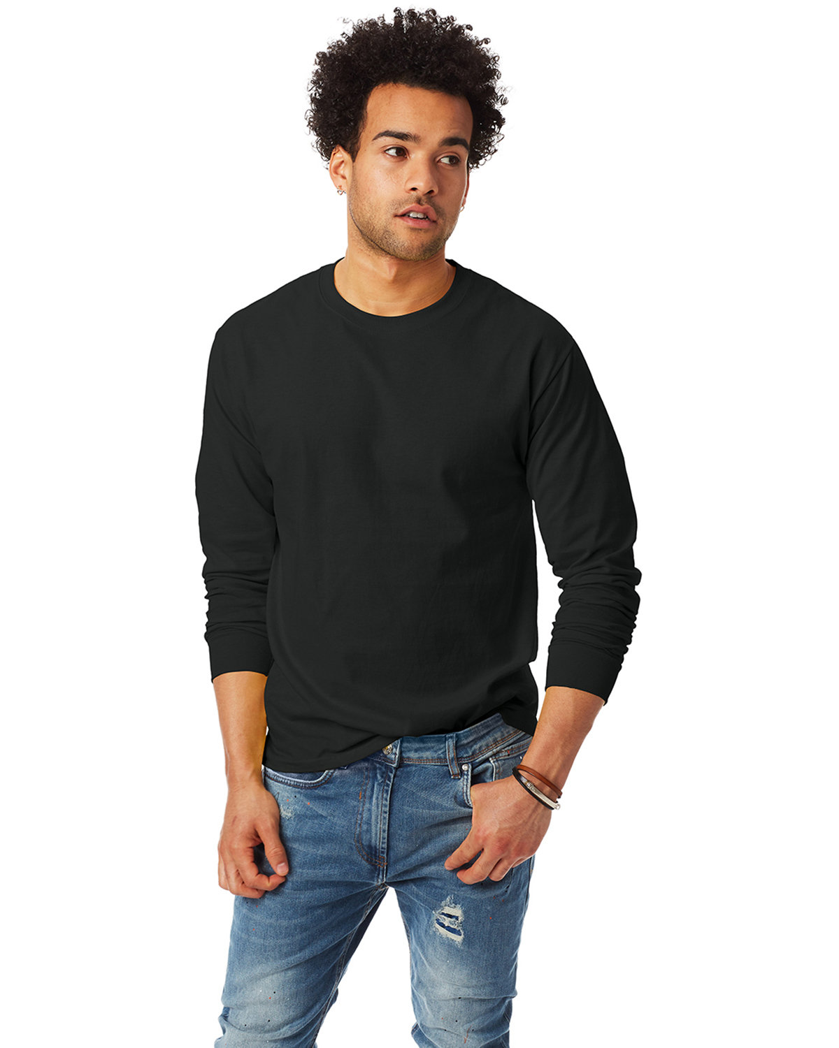 Hanes Adult Authentic-T Long-Sleeve T-Shirt BLACK