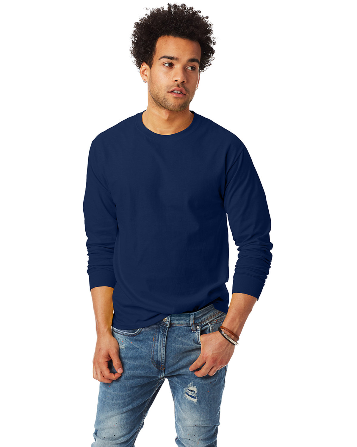 Hanes Adult Authentic-T Long-Sleeve T-Shirt NAVY
