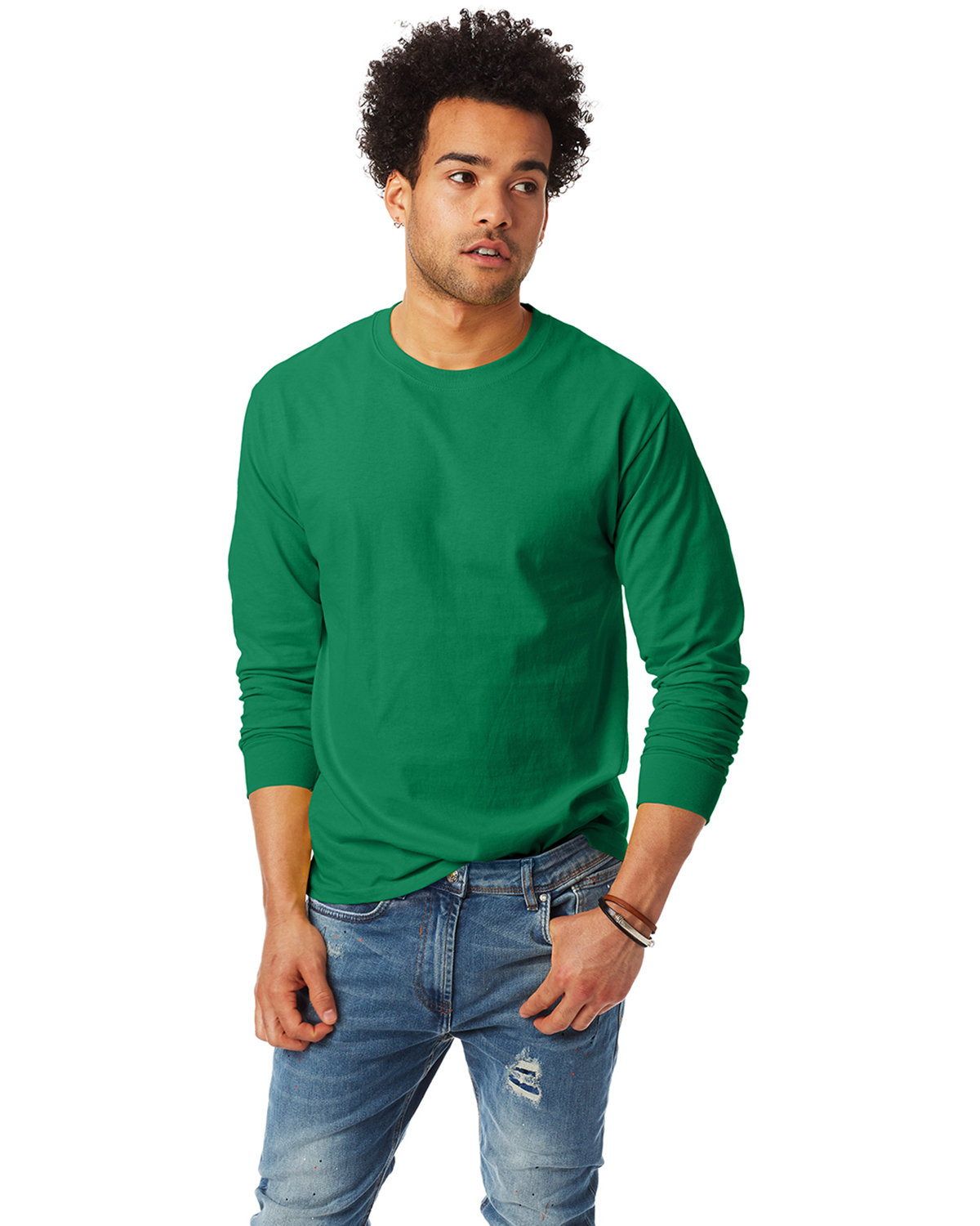 Hanes Adult Authentic-T Long-Sleeve T-Shirt KELLY
