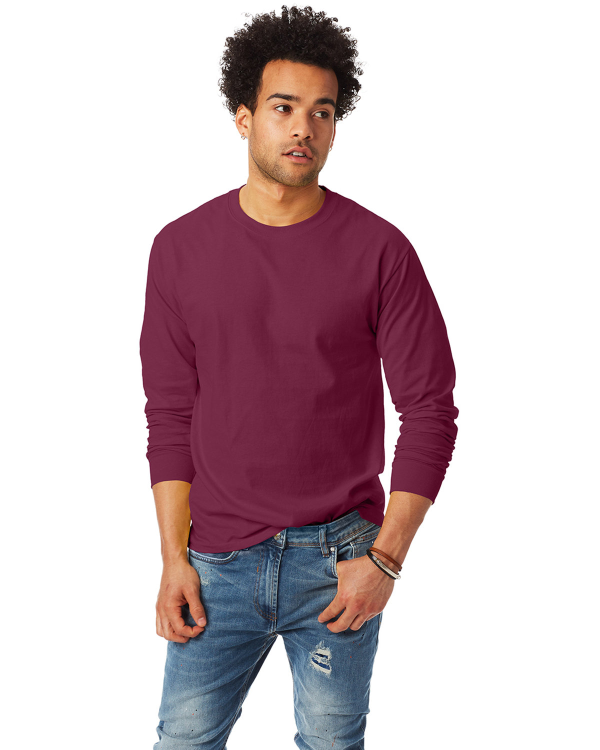 Hanes Adult Authentic-T Long-Sleeve T-Shirt MAROON