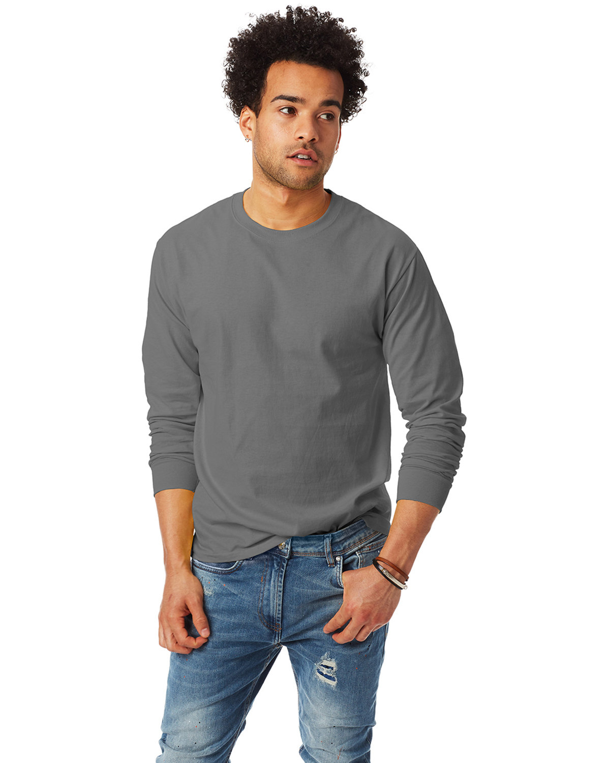 Hanes Adult Authentic-T Long-Sleeve T-Shirt SMOKE GRAY