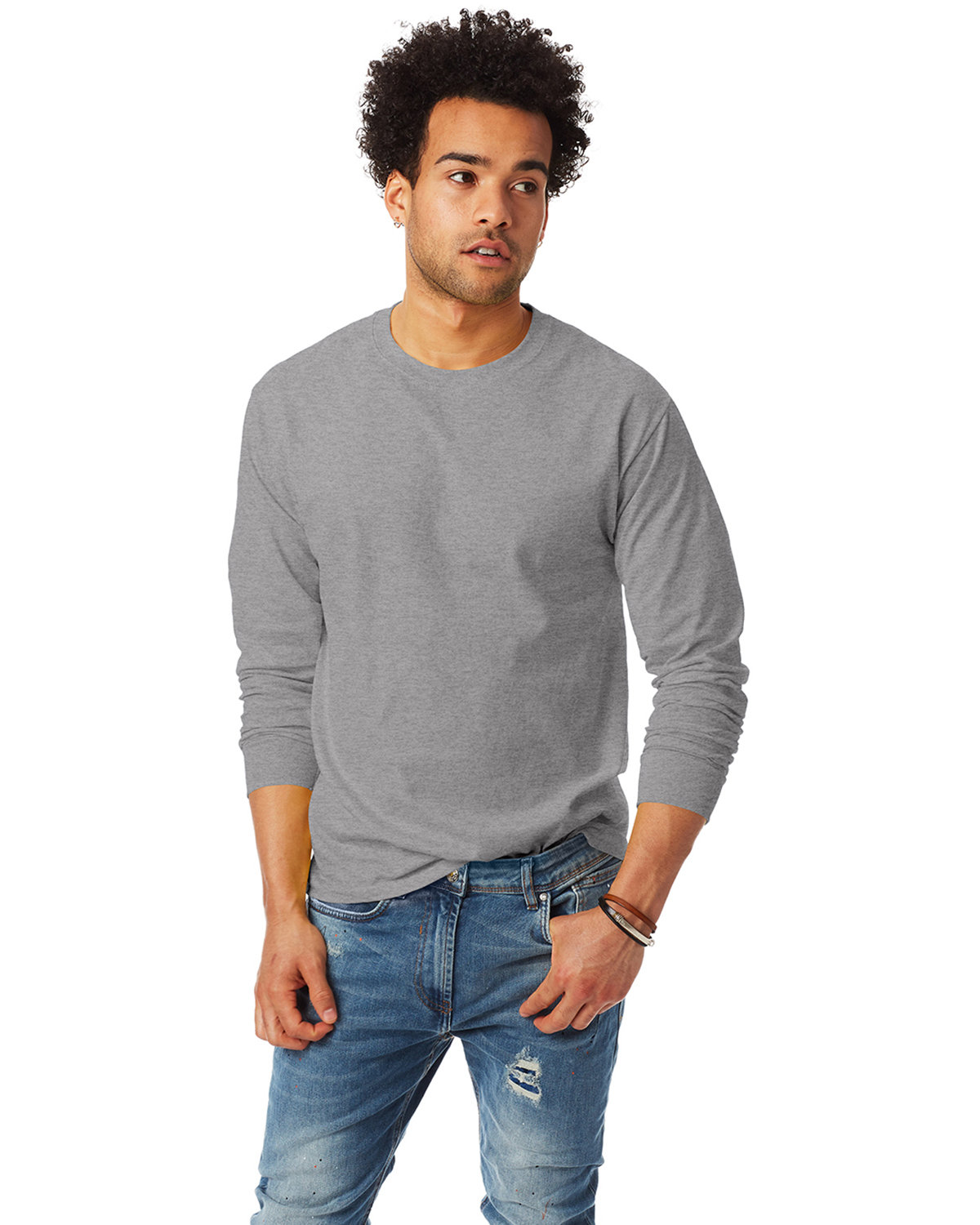 Hanes Adult Authentic-T Long-Sleeve T-Shirt OXFORD GRAY
