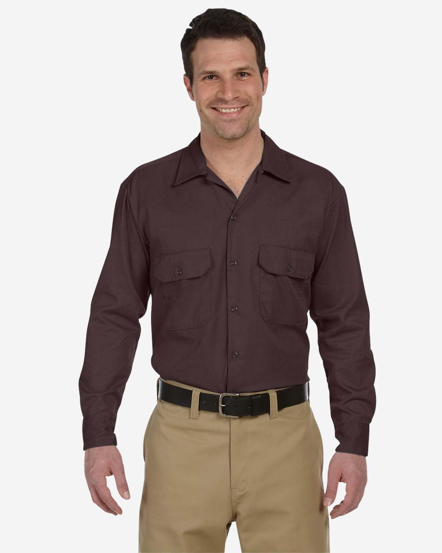 Dickies Men's 5.25 oz./yd² Long-Sleeve WorkShirt DARK BROWN
