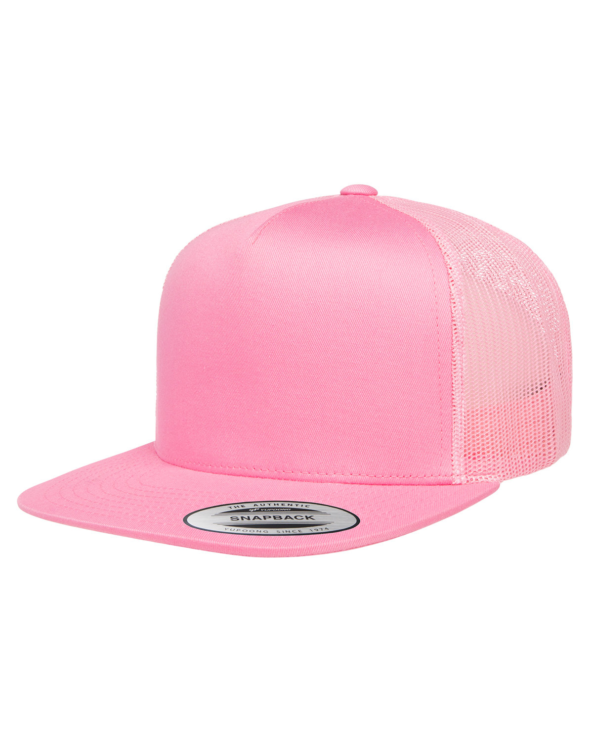 Yupoong Adult 5-Panel Classic Trucker Cap PINK