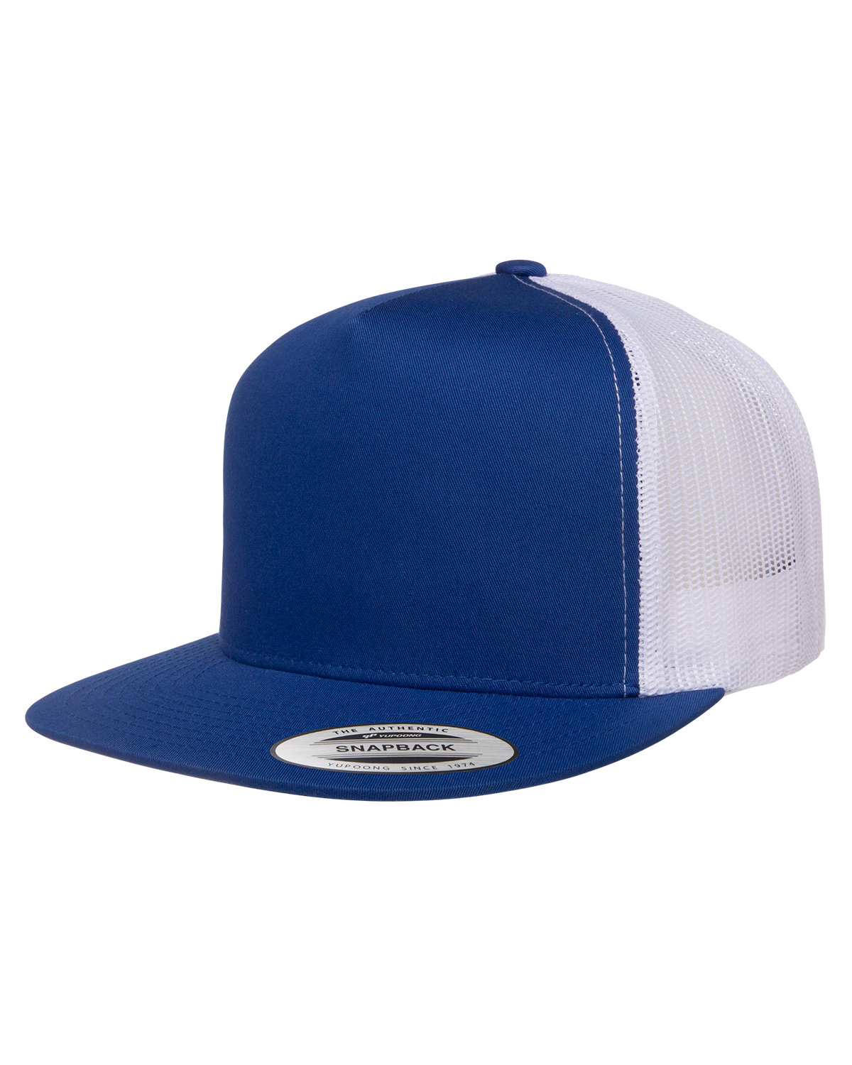 Yupoong Adult 5-Panel Classic Trucker Cap ROYAL/ WHITE