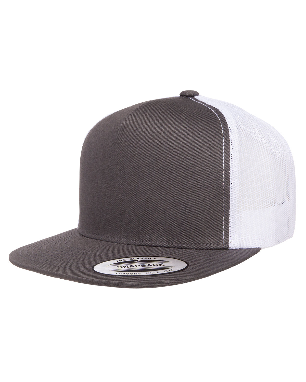Yupoong Adult 5-Panel Classic Trucker Cap CHARCOAL/ WHITE