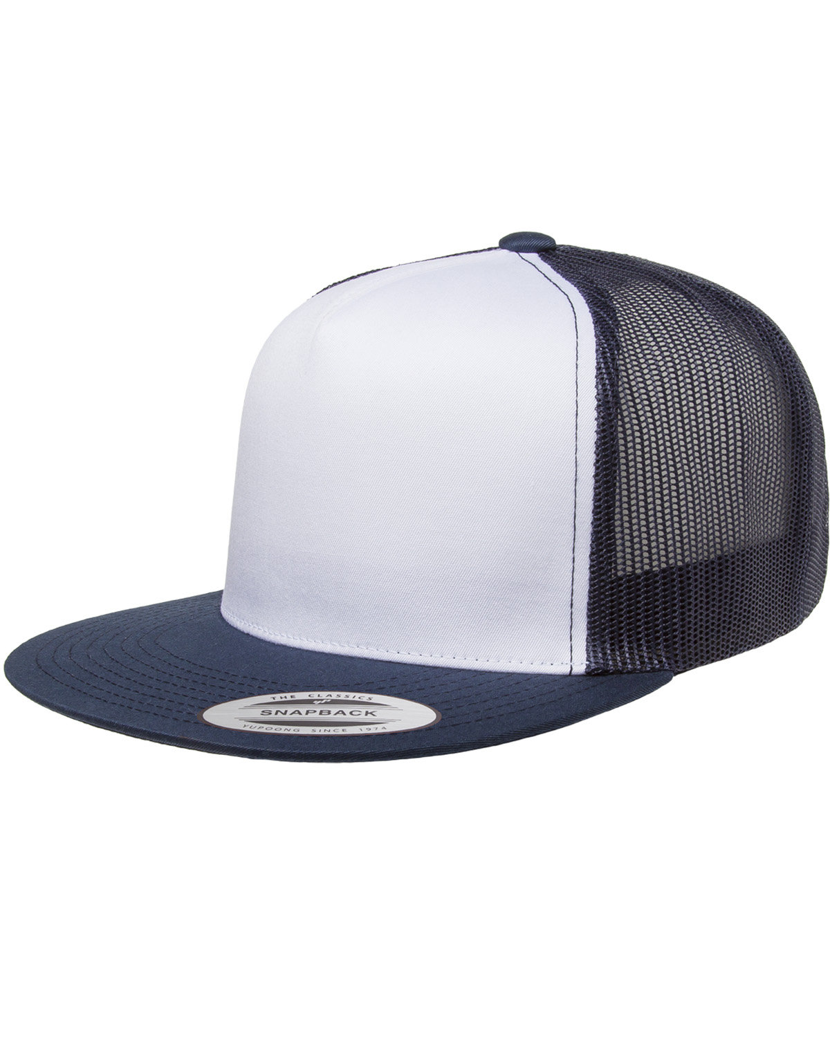 Yupoong Adult Classic Trucker with White Front Panel Cap NAVY/ WHT/ NAVY