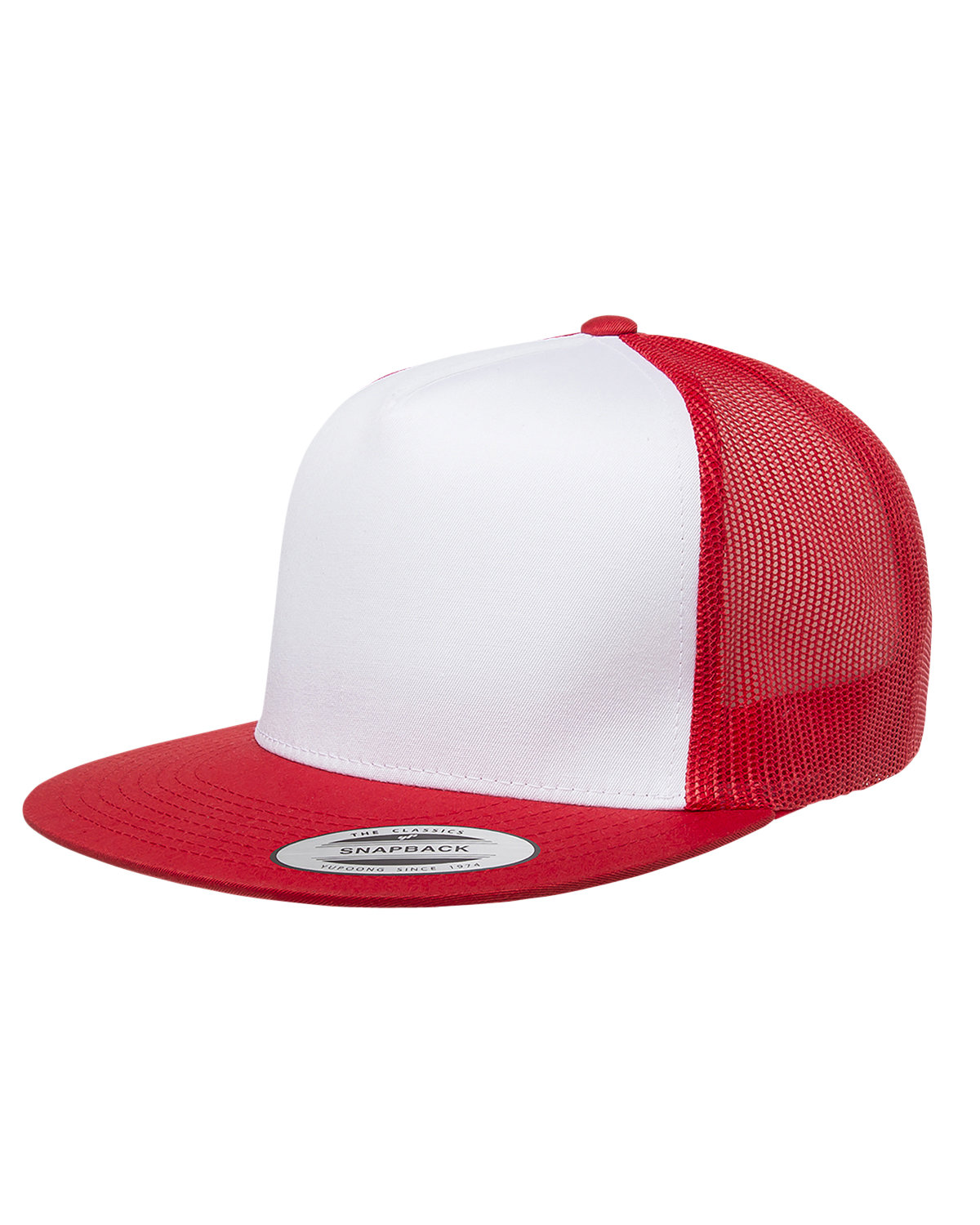 Yupoong Adult Classic Trucker with White Front Panel Cap RED/ WHT/ RED