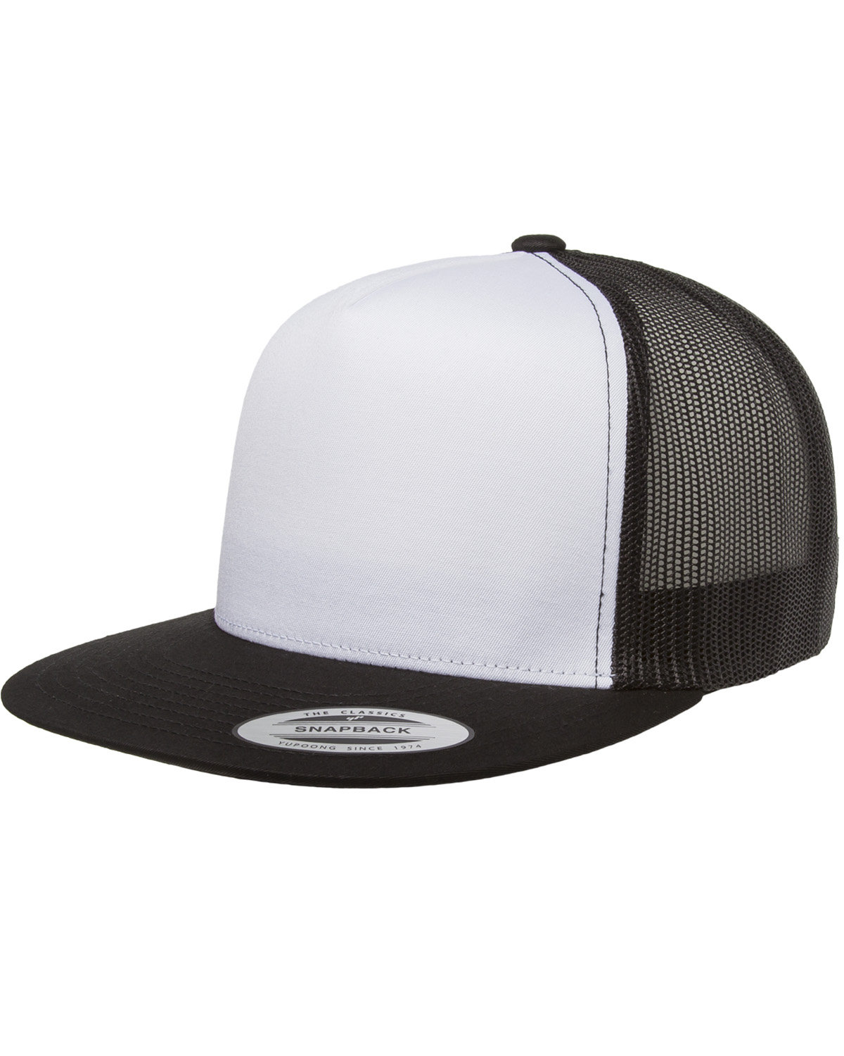 Yupoong Adult Classic Trucker with White Front Panel Cap BLACK/ WHT/ BLK