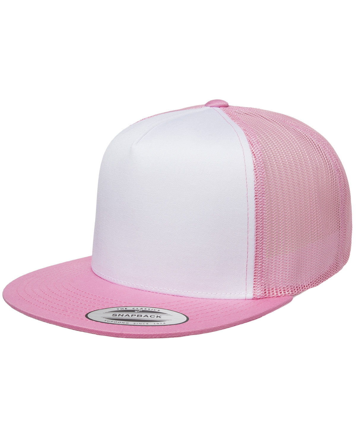 Yupoong Adult Classic Trucker with White Front Panel Cap PINK/ WHT/ PINK